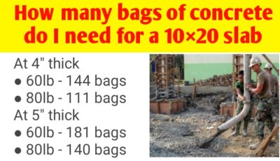 How many bags of concrete do I need for a 10×20 slab