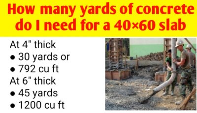 How many yards of concrete do I need for a 40×60 slab