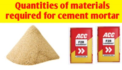 Quantity of materials required for 1 cubic metre of cement mortar