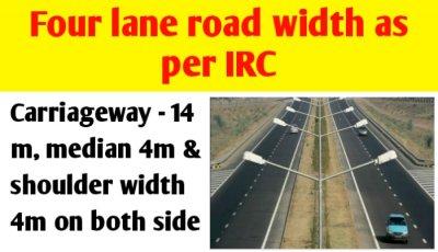 4 lane road width in India as per IRC