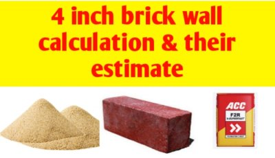 4 inch brick wall calculation and their estimate